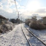 千葉県 銚子市 銚子電鉄線路 雪景色 田舎の風景って いいね!