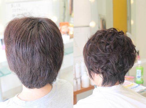 クリープパーマ 3Dヘア 「髪が重ならないようにスタイラー仕上げ」