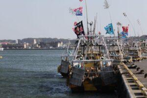 銚子漁港に笹
